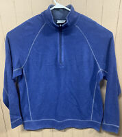 TOMMY BAHAMA Men's Quarter Zip Pullover Blue Sweater Size XL; Reversible