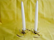 """2 Gold Metal """"S"""" Shaped Candle Holders w/ A Lovely Lotus Flower Center Design"""