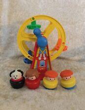 Vintage Fisher Price Jumbo Chunky Little People Ferris Wheel and figures Lot