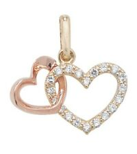 9 Carat Gold Double Heart Pendant 0.63gr 14MMX8MM *FREE UK SHIPPING** NEW