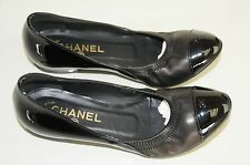 NEW CHANEL Black Patent & Nappa Leather Ballet SHOES BALLERINA FLATS 37.5 7 bag