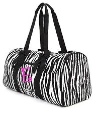 Personalized Monogrammed Quilted Duffle Bag~Zebra Black