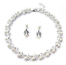 Luxury Wedding White Pearl Jewellery Set Stud Earrings & Necklace Bridal S312