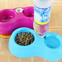 AU_ JW_ Automatic Food Supply Bowl Bottle Dog Cats Dishes Dual Water Drinking Fe