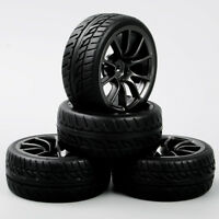 4Pcs 1:10 RC On Road Racing Car Black Wheel &Rubber Tires Foam Insert 12mm Hex