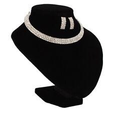 Fashion Jewelry Wedding/Bridal Three Rows Rhinestone Necklace Choker Earring Set