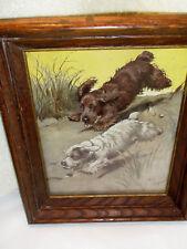 Vintage Framed Print RePrint Two Dogs on Sand Dune Signed Cecil Aldin