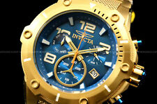 Invicta Speedway XL VIPER RondaZ60 Movt TEAL Blue Dial 18K Gold Plated S.S Watch