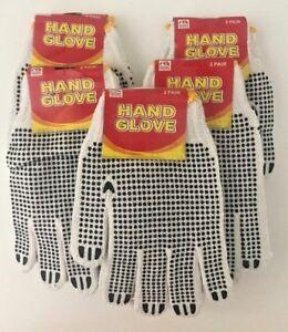 8-10-12Pairs White/Black Garden/Work Latex Hand Gloves-W Crinkle-Unisex-One Size