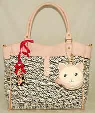 Betsey Johnson - Pink Black - Roll Out Baby Diaper Bag / Tote Weekender *New Tag