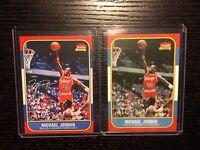 1986 Fleer Michael Jordan Chicago Bulls 2 Card Lot Auto