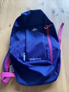 Kids Decathlon Quechua backpack 10l Blue/Pink with zip pocket on front