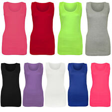 LADIES VEST WOMEN COTTON STRETCHY RIBBED T-SHIRT CAMI CASUAL MUSCLE GYM TANK TOP