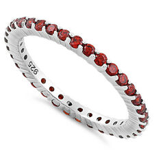 Stackable Ruby Cubic Zirconia .925 Sterling Silver Eternity Band 4-12
