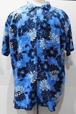 George Foreman Mens Short Sleeve Shirt 3X GF Sport Hawaiian Floral Blue White