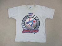 VINTAGE Toronto Blue Jays Shirt Adult Large Gray Blue MLB Baseball Mens 90s *