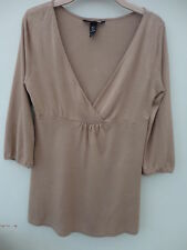 H&M Tan Stretch Tunic Size Small 10-12 With 3/4 Sleeves