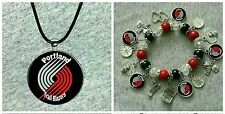 Portland Trail Blazers necklace and beaded bracelet set