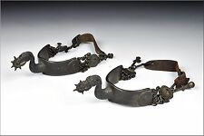 Pair of Antique 18th / 19th Century Spanish Colonial Silver Spurs w/ Dragons