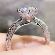 1.5ct Crown Princess Square Engagement Micro-inlaid Luxury Hollow Ring Size 4-9