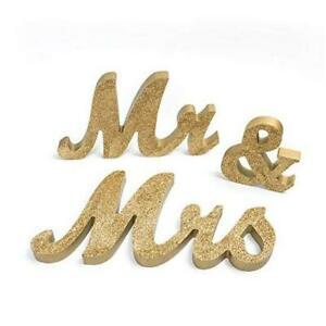 Mr and Mrs Sign Wedding Sweetheart Table Decorations,Mr and Mrs Gold Glitter