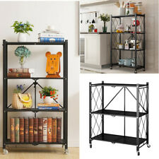 Foldable Metal Kitchen Corner Shelf Storage Display Unit Organizer Rack w/Wheels