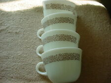 PYREX WOODLAND BROWN MILK GLASS COFFEE CUPS x 4 GENTLY USED FREE USA SHIPPING