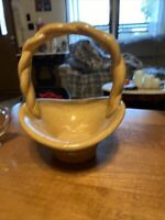 "Art Pottery Handmade Glaze Basket Planter Bowl 7"" Tall 5 1/2"" Wide"