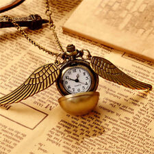 Steampunk Harry Potter Snitch Pocket Watch Necklace Quidditch Wing Clock Pendant