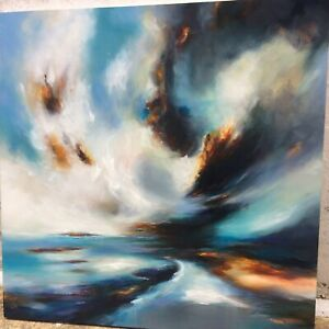 Original Oil Painting on Wood Signed Art LARGE 90 X 90 [3ft] - Abstract Storms