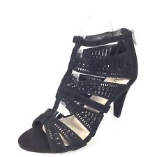 Alfany Chloey Womens Size 6.5 M Black Suede Heel Strappy Sandals.