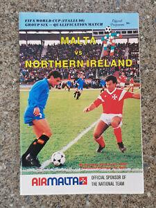 1989 - MALTA v NORTHERN IRELAND PROGRAMME - WORLD CUP 90 QUALIFIER - 88/89