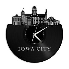Iowa City Vinyl Wall Clock Skyline Exclusive Unique Gift Vintage Home Decoration