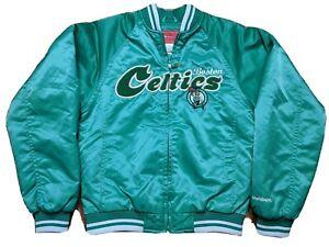 Boston Celtics Satin Starter Jacket Reebok Team Jersey Quilted Women Small Green
