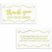 """200x Thank You for Your Order Purchase Cards Notes Notecards Gold Foil 3.5 x 2"""""""