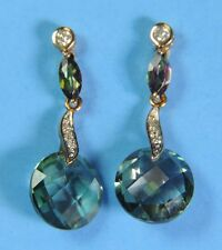 10K Yellow Gold Alexandrite & Genuine Diamond Dangle Stud Earrings