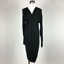 BCBG M Medium Stretch Knit Dress Black Gathered V Neck Bodycon 3/4 Sleeve