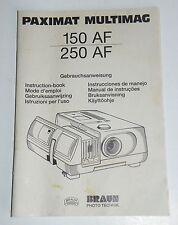 Originales manual de instrucciones para manual proyector de diapositivas marrón paximat 150af/250 AF