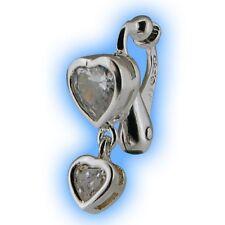 Clear Heart Duo Dangly Non Piercing Clip Navel Bar Fake Belly Button Ring Clipon