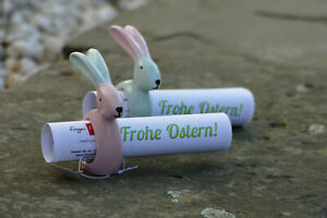 2 Osterhasen Serviettenringe aus Keramik 2-farbig Gutschein Geldgeschenk Ostern
