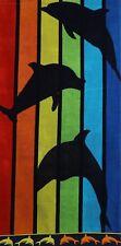Betz Serviette de plage en velours 100% coton taille 70x140 cm dessin: DAUPHINS