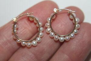 """10K Yellow Gold 4mm Pearl Hoop Earrings 7/8"""""""