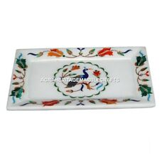9''x6'' White Marble Serving Tray Peacock Mosaic Inlay Kitchen Home Decor E96