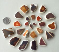 24 Pcs BROWN & TAN Sea Glass Beach Combed Pottery, Jewelry Quality