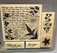 Stampin' Up! Wood Mounted Rubber Stamps Set of 5 FRESH CUTS Thank You Florals
