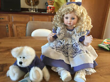 "MARIE OSMOND BEARY BEST FRIENDS PORCELAIN DOLL & BOYDS BEAR 13"" SITTING"