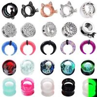 1 PAIR Glass&Acrylic&Steel&Silicone Ear Gauges Plugs Saddle Tunnels Double Flare