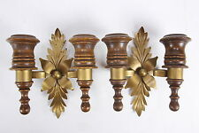 Pair Mid Century Wall Sconces Wood & Goldtone Metal Double Taper Candle Holders