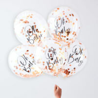 Oh Baby Rose Gold Confetti Helium Balloons Baby Shower Unisex Party Decorations