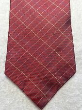 "TOMMY HILFIGER MENS TIE DARK RED WITH GOLD BLUE AND BLACK PLAID  3.75"" X 57.75"""